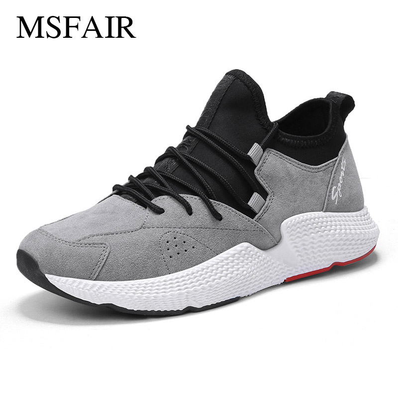 Msfair Men Running Shoes Outdoor Athletic Sport Shoes For Men Shock absorption Flock Men Sneakers Running Shoes Men