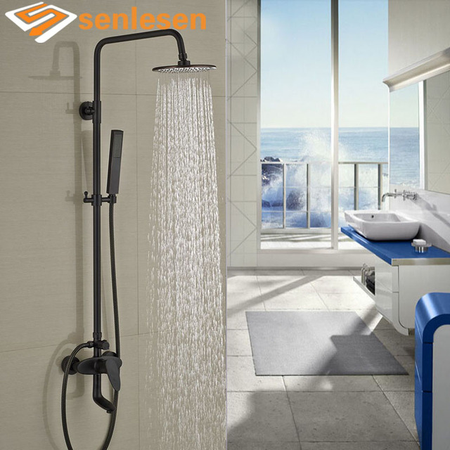 Round Style Oil Rubbed Bronze Shower Faucet Set Single Handle Tub Mixer Tap  W/ Hand