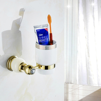 European Brass Titanium gold Toothbrush Holder Ceramic Cup Vintage Jade Base Cup Holder Wall Mount Bathroom Products gm7