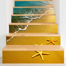 Beach Blue Sea Starfish Stair Stickers 6pcs/Set House Home Decor Vinyl Art Stair Decals Room Stairs Decoration Drop Shipping