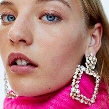 Luxury Crystal Drop Earrings Women Trendy 2018 Geometric Pendant Wedding Party Jewelry Christmas Wholesale