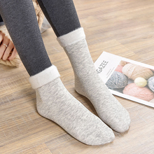 Winter Warm Socks Women Colored Cotton Plus Velvet Thickening Breathable And Sweat-absorbing Fashion Mid Sock