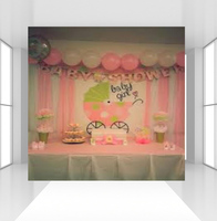 Photography Backgrounds Pink Theme Baby Shower Girl Princess Reveal gender Party Banner Photo Studio Prop Photocall CZ 121