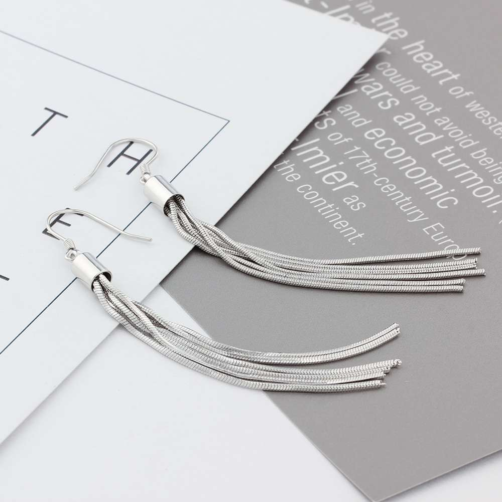 Genuine 925 Sterling Silver Tassel Dangle Earrings Women Metallic Long Earrings Party Jewelry Gift for Friends (Lam Hub Fong)