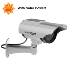 Fayele Outdoor Security CCTV Simulation Dummy Camera with Solar Panel Solar Power Charger Surveillance Bullet Fake Camera
