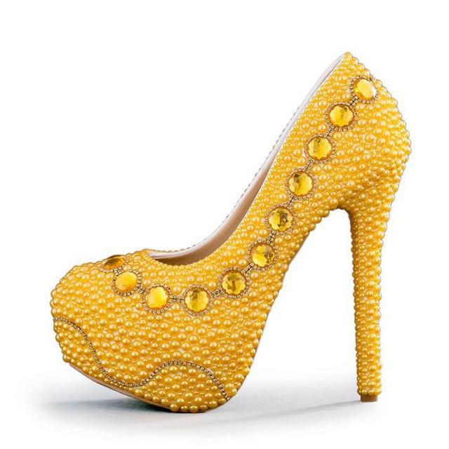 2017 New Designer Yellow Bridal Shoes Handmade Pearl Wedding Party Lady Formal Dress Stiletto