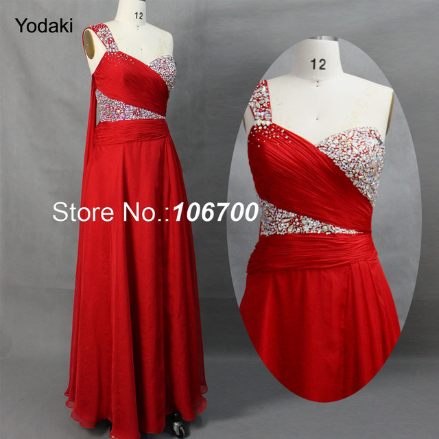 cf6f447fcc3df US $121.36 18% OFF|Elegant Brand Hand Beading Ruched Pleated Sweetheart One  Shoulder Red Chiffon Long Evening Dress Free Shipping JA120477-in Evening  ...