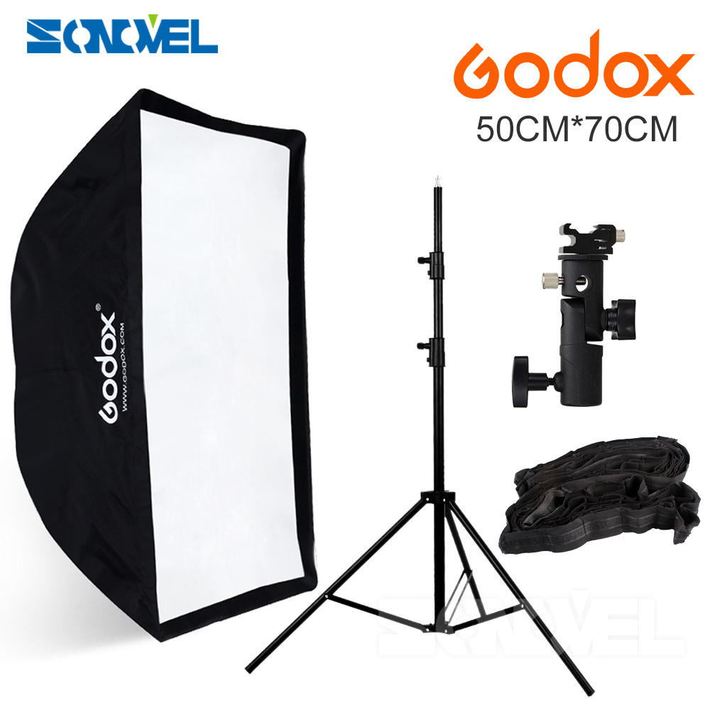 Godox 50*70 50x70 flash umbrella softbox+hot shoe bracket+2M light stand +honeycomb grid for Canon Nikon Godox YONGNUO FALSH недорго, оригинальная цена