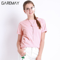 Ripped T Shirts Women Summer Solid Colour Fation Tops Short Sleeve Cotton Hole Tees Female Plus