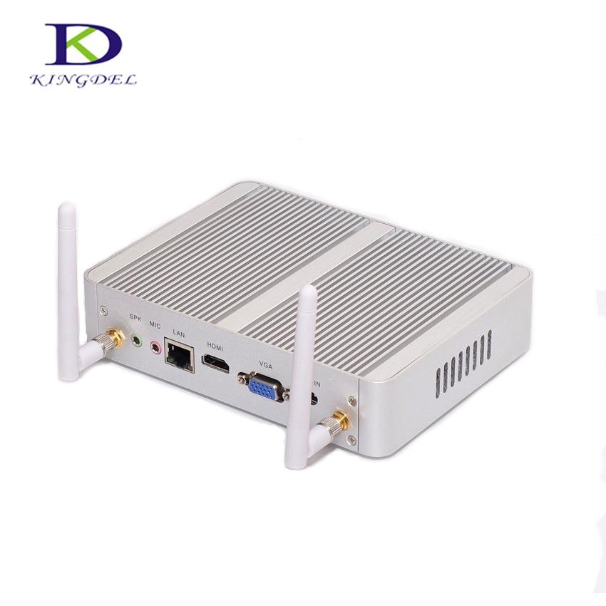 Kingdel Business Fanless Mini PC,Cheapest N3150 Mini Computer,Intel Core I3 4005U I3 5005U,4K HTPC,300M Wifi,HDMI,VGA,Windows 10