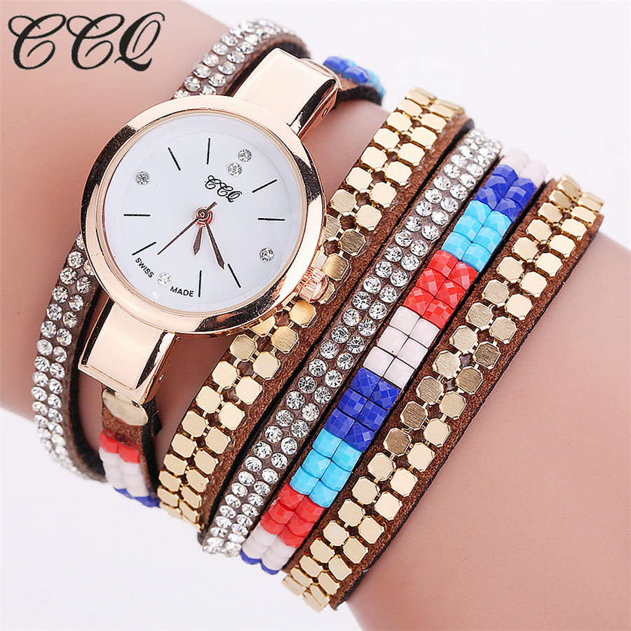 CCQ New Fashion Crystal Gold Bracelet Watch Women Fashion Casual Watch Colorful Strap Bangle Dress Quartz