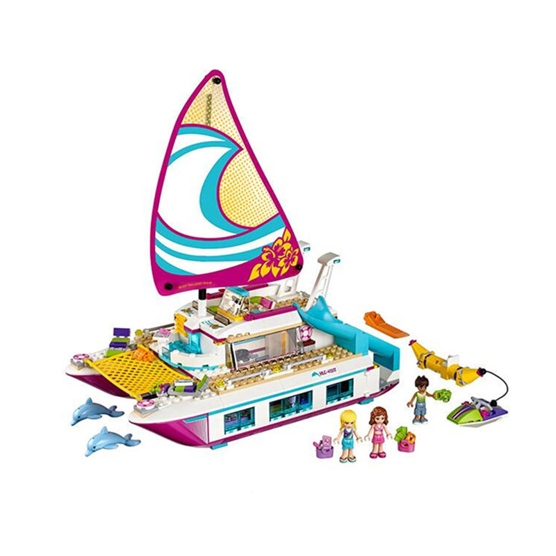 651pcs Diy Friends Girl Series Sunshine Catamaran Kids Bricks Building Blocks Toys for children Compatible with Legoingly 41317 lepin 01038 friends girl series building blocks toys sunshine catamaran kids bricks toy girl gifts compatible legoing 41317