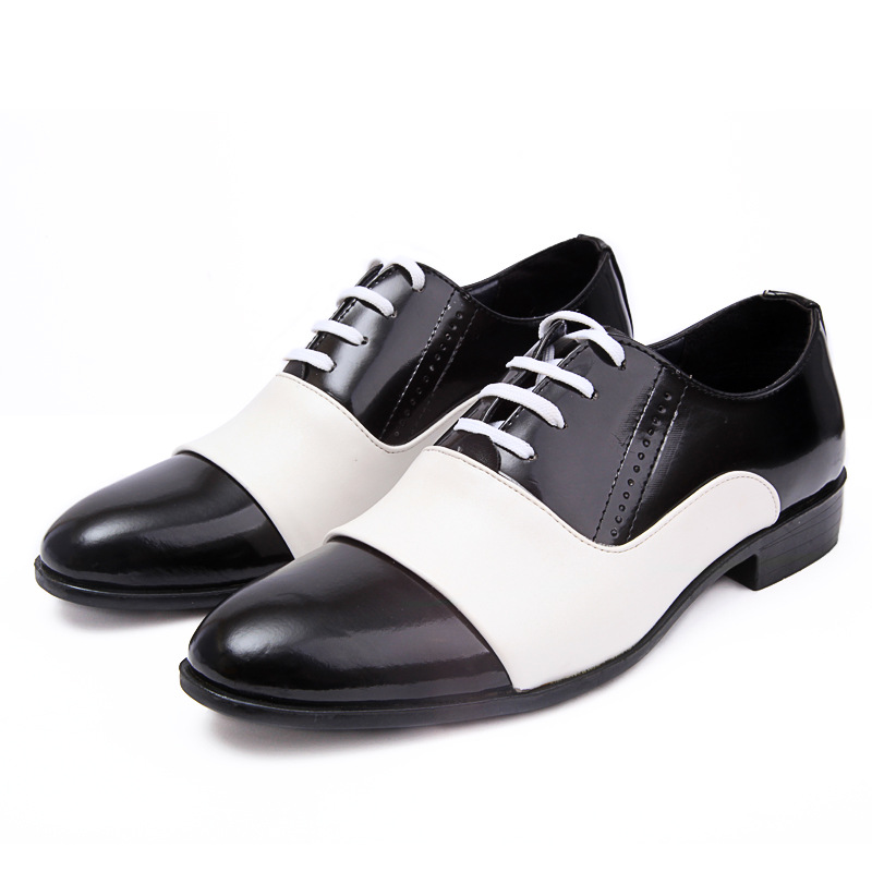 MIUBU Spring Autumn Fashion Men Shoes Patent Leather Men Dress Shoes White Black Male Soft Leather Wedding Party Oxford Shoes in Formal Shoes from Shoes