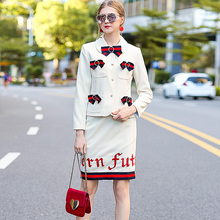 Catwalk High Quality New Runway Designer 2017 Spring and Autumn Women's Professional Office Bowknot Lapel Jacket Skirt Set