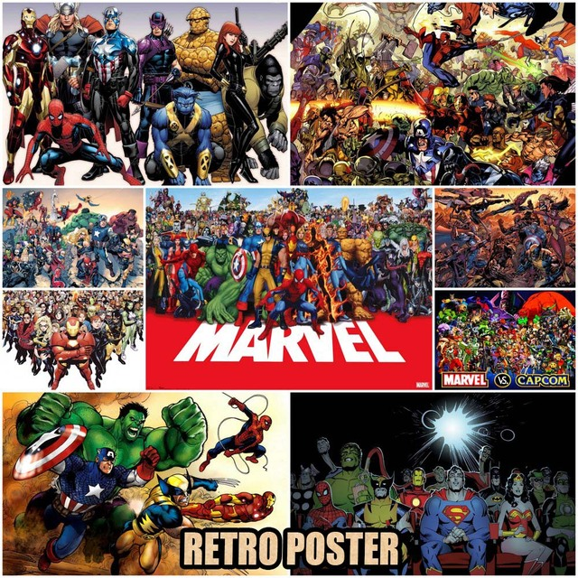 marvel super hero posters kraft paper collage paintings decorative