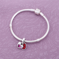 925 Sterling Silver Hollow Red White Heart Charm Fit Original Pandora Bracelet Necklace For Women Authentic