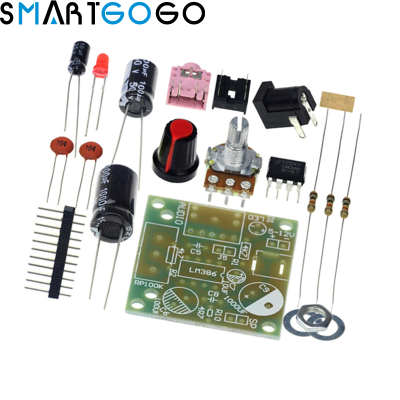 Smart Electronic DIY Kit LM386 Super Mini Audio Amplifier DIY Kit Trousse LM386 Amplificador Module Amp Board 3.5mm 3-12V