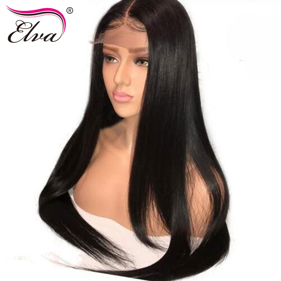 Elva Hair 250 Density 360 Lace Frontal Wig Pre Plucked With Baby Hair Straight Brazilian Lace