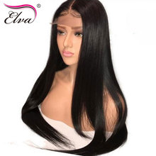 Elva Hair 250% Density 360 Lace Frontal Wig Pre Plucked Hairline With Baby Hair Straight Brazilian Remy Hair Wig For Black Women