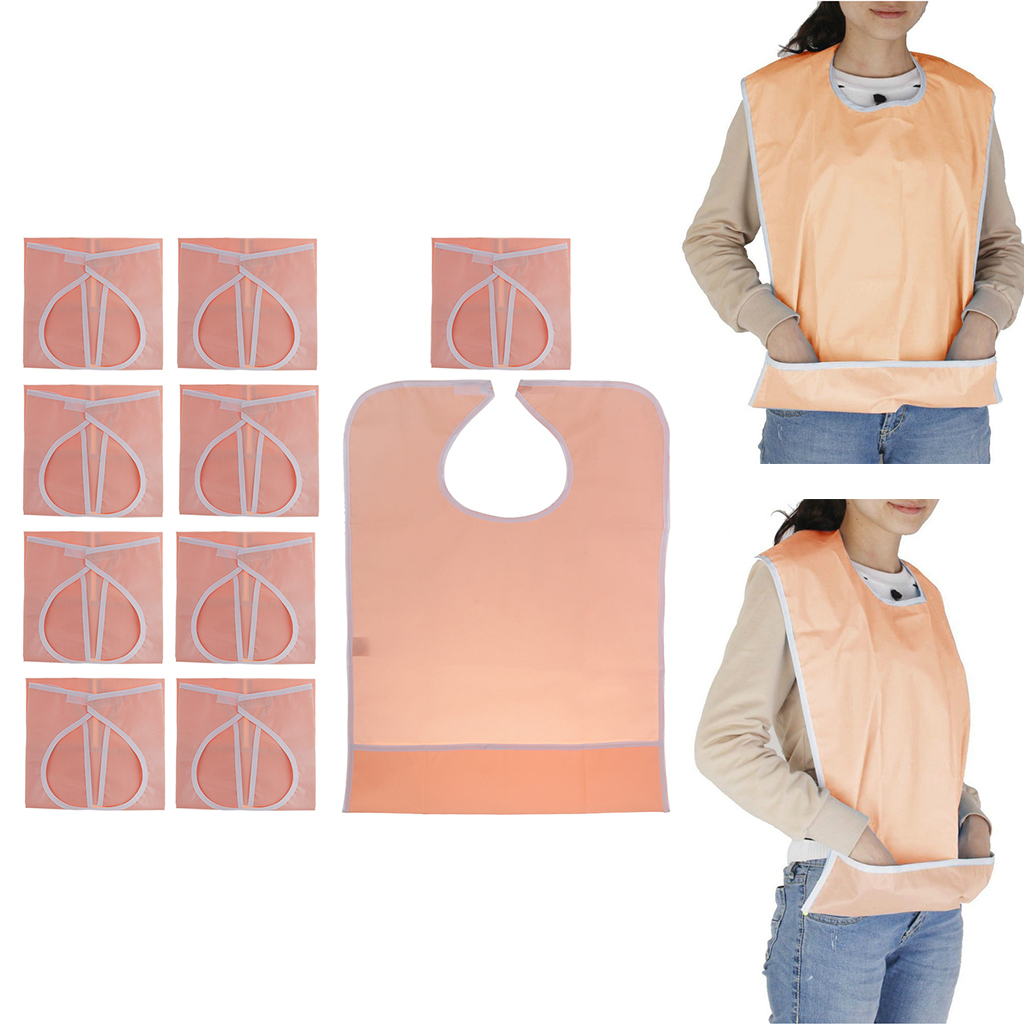 10pcs Orange Waterproof Reusable Adult Mealtime Eating Bib Cloth Protector Apron with Food Catcher Pocket