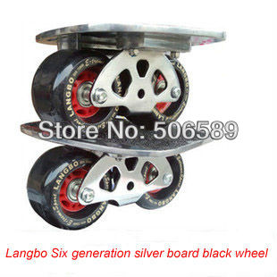 Free Shipping Freeline Skates Silver Board Black Wheels Langbo 6 Generation Drift Board