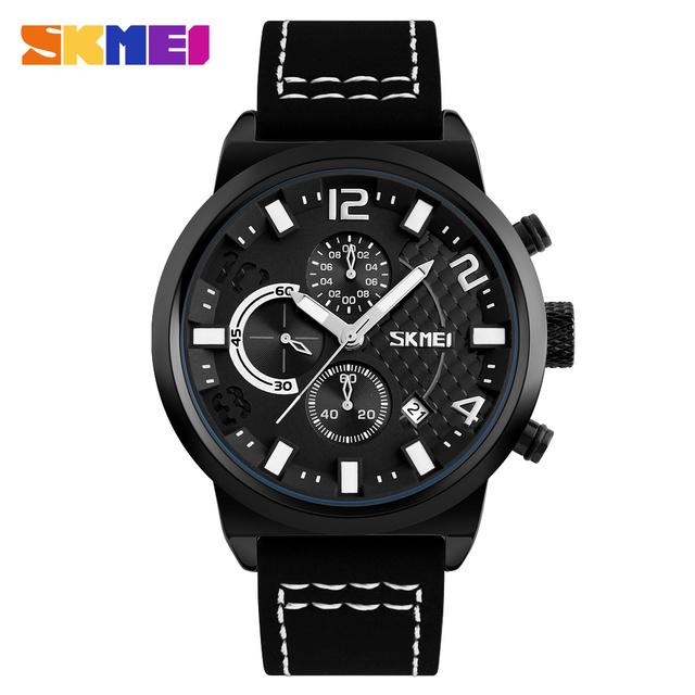 2017 SKMEI Men Chronograph Watch Sport Watches Leather Quartz-Watch Waterproof Clock Date Men's Wrist Watch relogio masculino