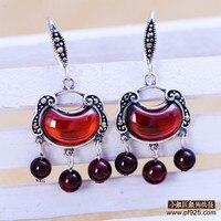 2cm*1.5cm tassel famous brand 925 Sterling silver women jewelry red vintage Natural semi precious stones Earrings garnet