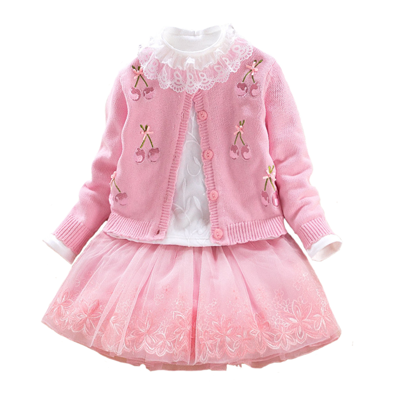 Autumn Baby Sweater Dress Set Infant Sweater Coat Cherry Pattern Cotton Shirt Lace Dress 3pcs Suit Girls Princess Clothing 2-6Y сотовый телефон samsung sm a300f ds galaxy a3 duos gold