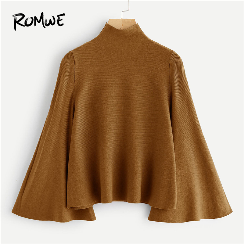 ROMWE Mock Neck Bell Sleeve Jersey Sweater Women Elegant  Autumn Winter Camel Plain Flounce Sleeve Clothing Spring Pullovers