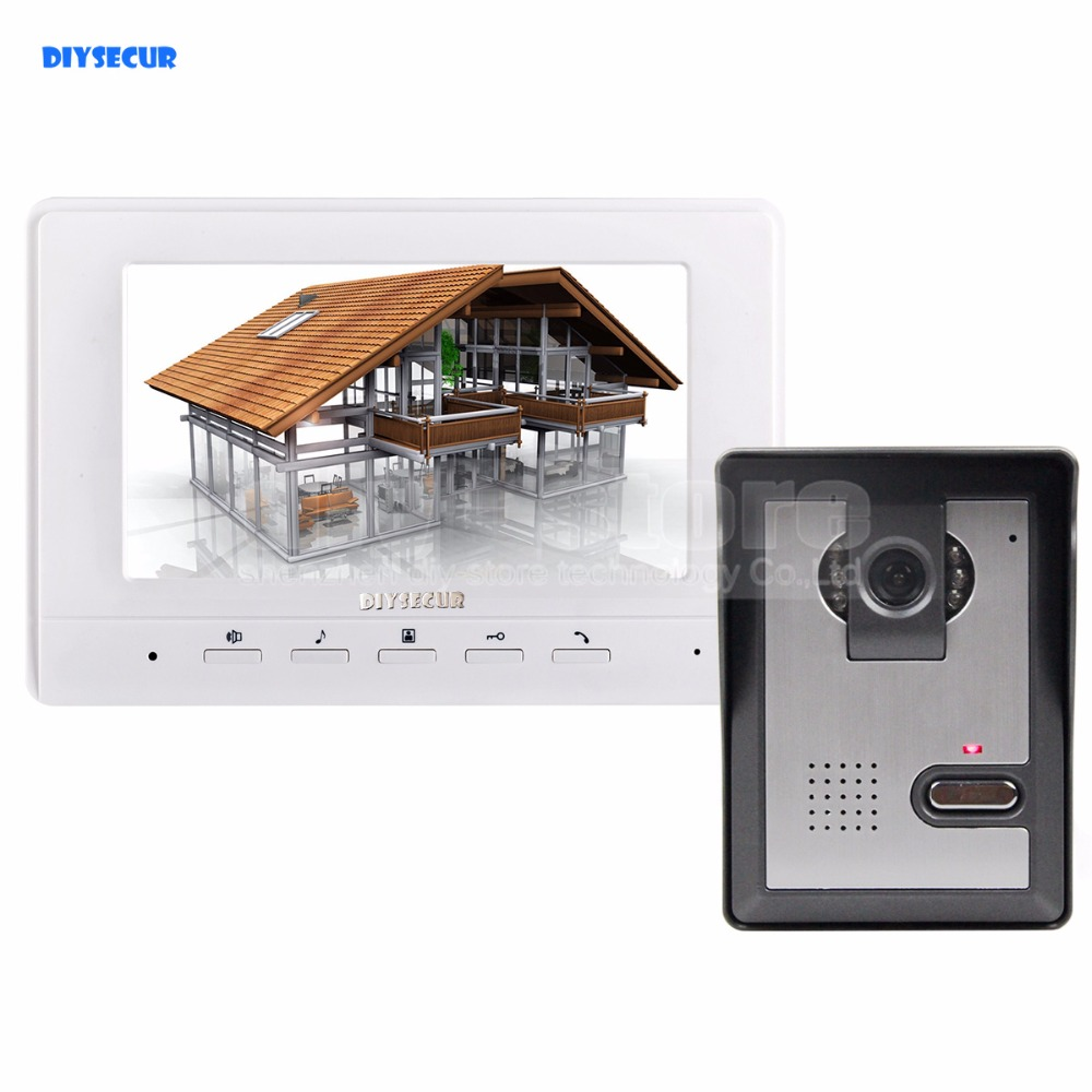 DIYSECUR 7inch Video Intercom Video Door Phone 1 Camera 1 Monitor for Home / Office Security System diysecur 7inch video intercom video door phone doorbell 1 camera 1 monitor electric lock for home office security system