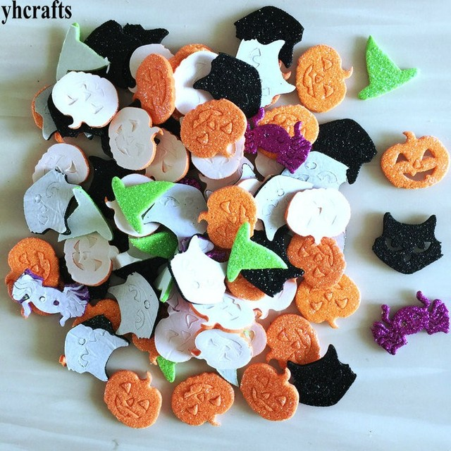 40pcslotglitter halloween pumpkin spider foam stickers halloween crafts activity items kindergarten diy