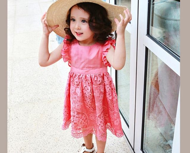 Estilo coreano Niños Atan el Vestido de Volantes de La Manga Lindo ...