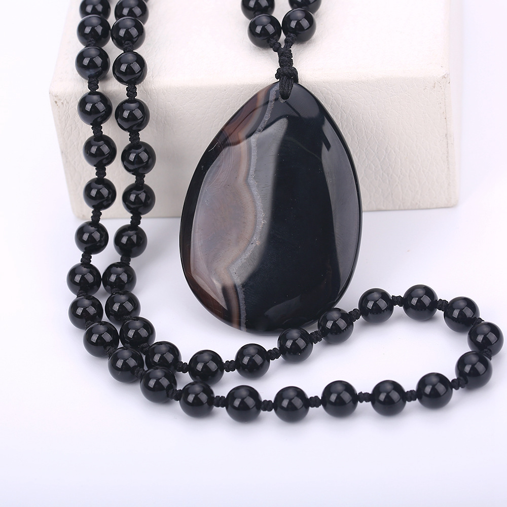 Black Obsidian Pendant Necklace Obsidian Water Drop Big Pendant Lucky Love Crystal Jewelry With Free Rope Pop Long Sweater Chain