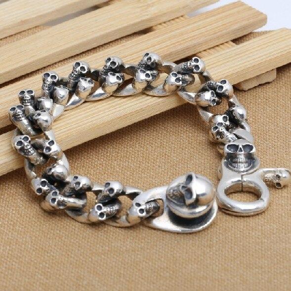 Ручной Тайский 925 Siilver череп браслет цепочка 230 мм серебро Человек Браслет подарок ювелирных изделий череп ювелирные изделия