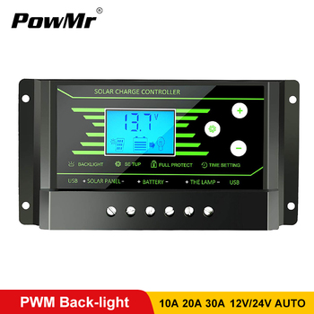 цена на PWM Solar Controllers 30A 20A 10A 12V 24V Auto PV Solar Charge Controller Back-light LCD Display Dual 5V USB Battery Regulator