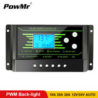 PWM Solar Controllers 30A 20A 10A 12V 24V Auto PV Solar Charge Controller Back-light LCD Display Dual 5V USB Battery Regulator