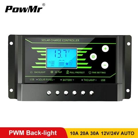 pwm controladores solares 30a 20a 10a 12v 24v auto controlador de carga solar pv back