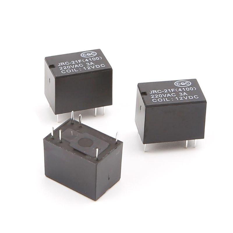 siwetg JRC-21F 4100 DC Mini Power Relay 6 Pin PCB Mount Schaltungsrelais 3 V 5 V 12 V 10 St/ück 3 V