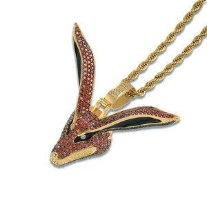 Image 3 - TOPGRILLZ Hip Hop Gold Naruto Kurama Fox Pendant Necklace Micro Pave Zircon Iced Out Animal Jewelry Man Women Gift