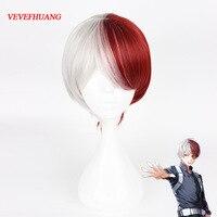 VEVEFHUANG My Hero Academia Boku No Hiro Akademia Shoto Todoroki Shouto White And Red Cosplay Wig