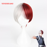 VEVEFHUANG My Hero Academia Boku No Hiro Akademia Shoto Todoroki Shouto White And Red Cosplay Wig