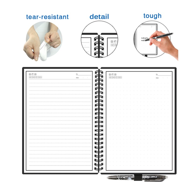 Smart Reusable Erasable Notebook Paper Erase Notepad Note Pad Lined With Pen Pocketbook Diary Journal Office School Drawing Gift 4