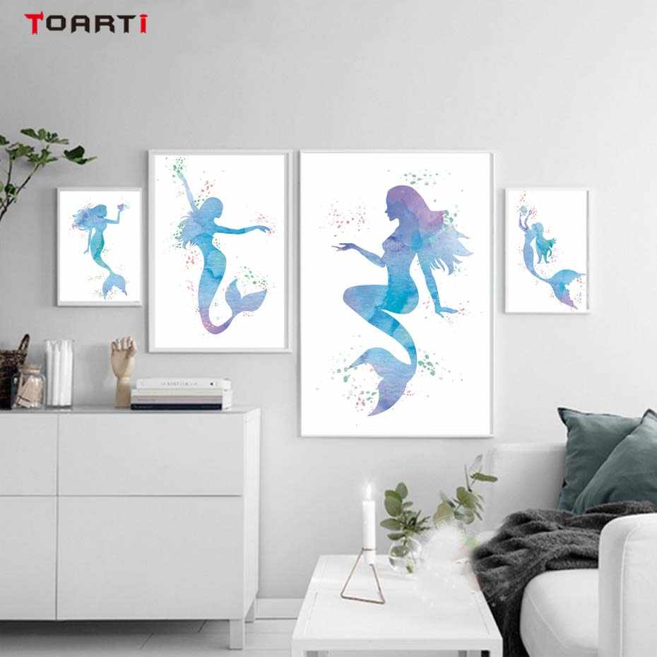 Detail Feedback Questions About Watercolor Mermaid Cartoon Wall Art