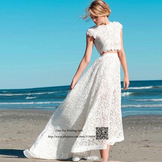 Bohemian Vintage Beach Wedding Dress 2 Piece Summer Wedding Gowns