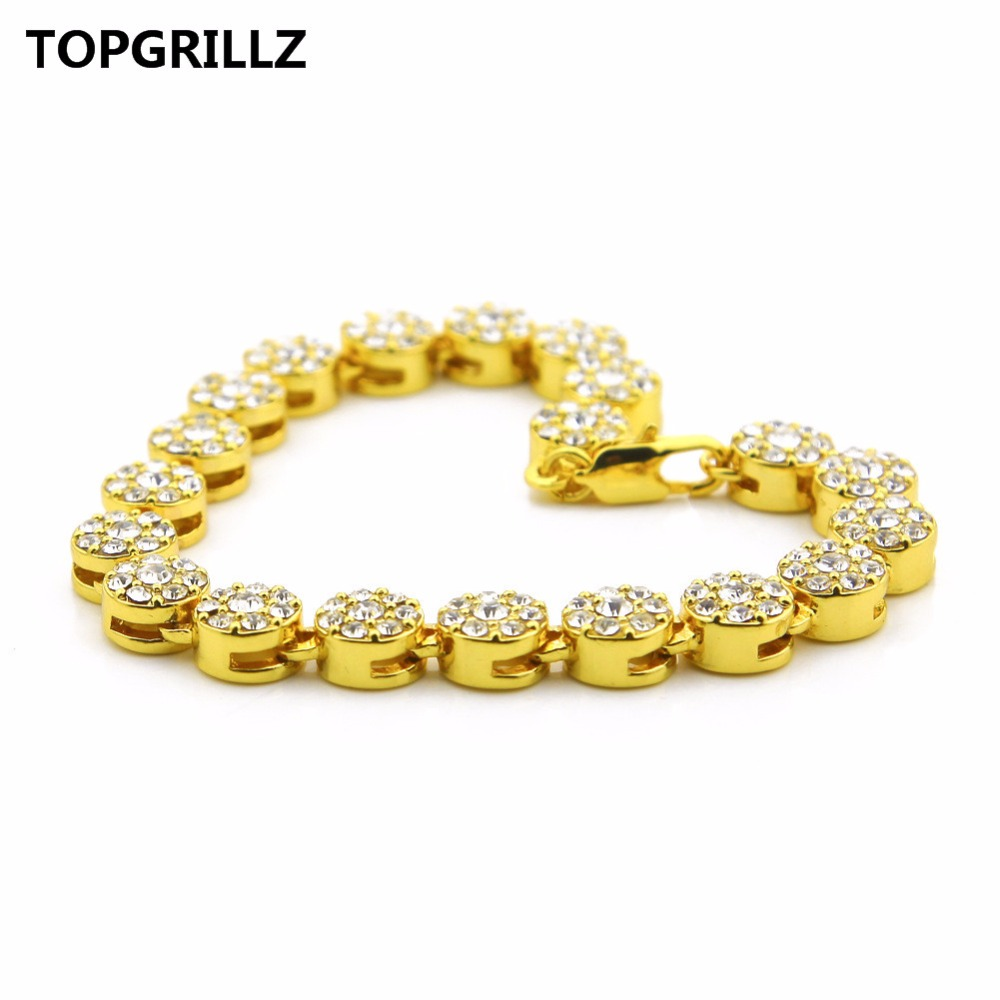 TOPGRILLZ Gold Palted Bling Bling Hip Hop Bracelet 1 Row Round Cakes All Iced Out Crystals Bracelet Mens Fashion Jewelry