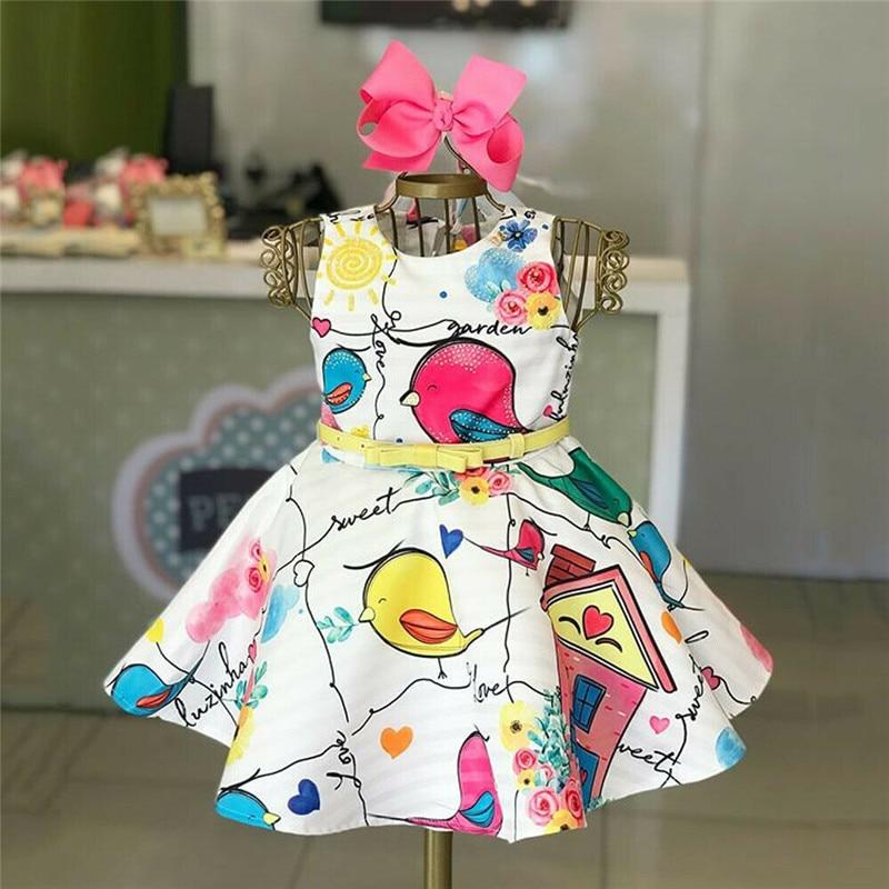 Детское платье с птичкой для маленьких девочек, формальное платье принцессы без рукавов с круглым вырезом, платье для торжеств, платье с высокой талией и поясом с бантом для девочек, От 1 до 5 лет