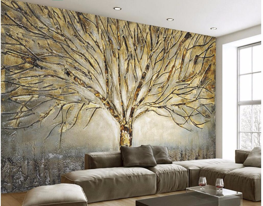 Custom photo 3d wallpaper Fashion tree modern oil painting living room Home decor 3d wall murals wallpaper for walls 3 d 3d wall murals wallpaper for living room walls 3 d photo wallpaper sun water falls home decor picture custom mural painting