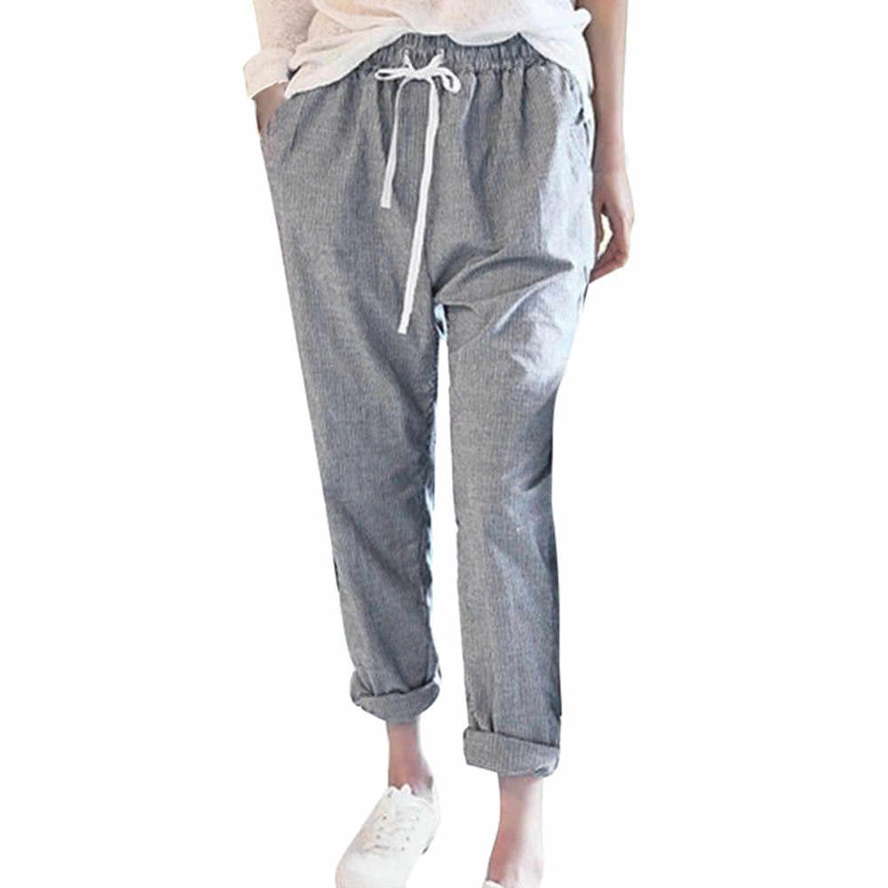 36460f63 Women Cotton Hemp Harem Pant Girls Casual Loose Beach Striped High Waist  Long Trousers Female Drawstring Elastic Waist Pant#23