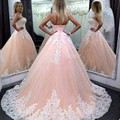 Pink Puffy Ball Gown Long Quinceanera Dresses Cheap Vestidos De 15 Anos White Appliques 2016 Sweet 16 Prom Party Dress For Girls