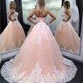 Pink Puffy vestido de Bola Largo Quinceañera Vestidos Vestidos de 15 Anos Blanco Apliques 2016 Dulce 16 vestido de Fiesta Vestido de Fiesta Para Niñas